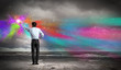 Man painting splashes