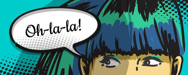 woman peeking out, comics urban art, speech bubble
