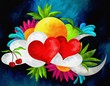 astratto con cuori e frutta