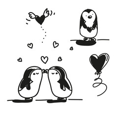 first love kissing couple penguins, Valentine's Day doodles