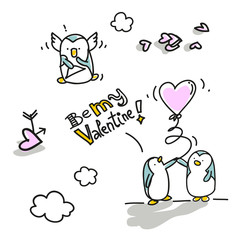 Valentine's Day cute penguins in love, cartoons set
