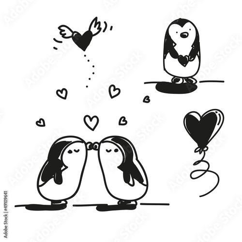 Penguin Couple Drawing Penguin Couple Drawing
