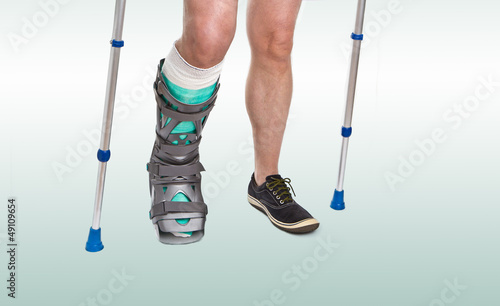Man with a broken leg and  Crutches