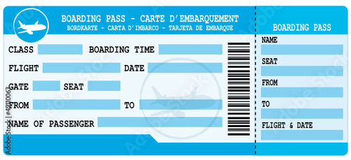 Boarding pass. Blue flight coupon.
