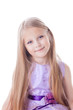 Pretty blonde little girl in light purple dress