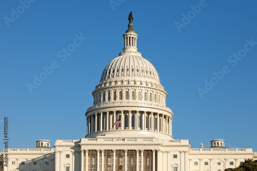 U.S. Capitol Dome Rear Face on Sunny Winter Day Blue Sky