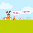 "Bunny Meadow Car Easter Basket Flag ""Frohe Ostern"""