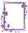 Ranke, Rahmen, Blüten, Schmetterlinge, lila, violett