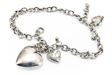 Silver necklace  with heart pendants