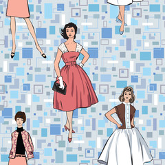 Fashion dress girls. Retro seamless background 1950 1960