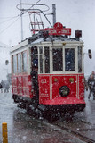 Cable car passing through heavy snow storm
