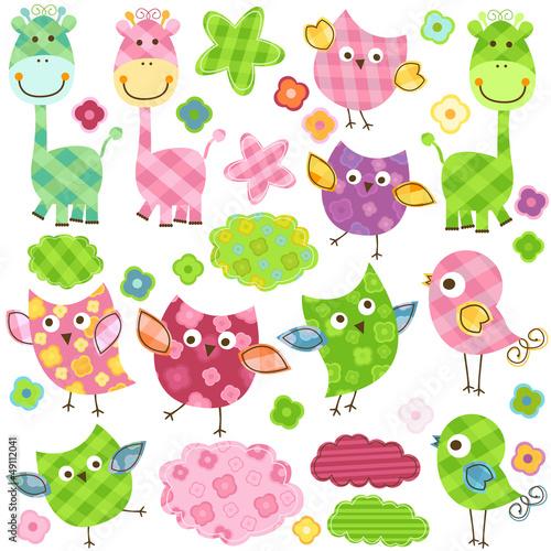 cute birds & giraffes