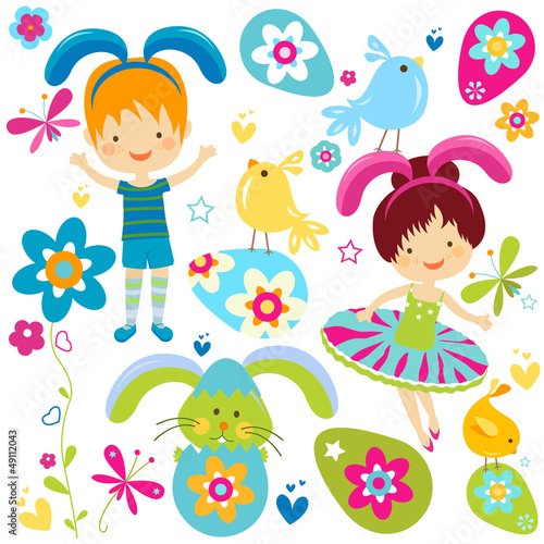 boy and girl in bunny costume