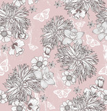 Seamless floral pattern. Background with flowers and butterflies