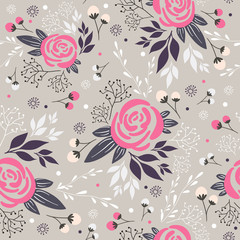 Seamless floral pattern. Background with flowers, leafs and berr