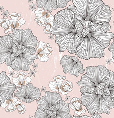 Seamless floral pattern. Background with flowers and leafs.