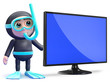Scuba guy stands by his new widescreen tv