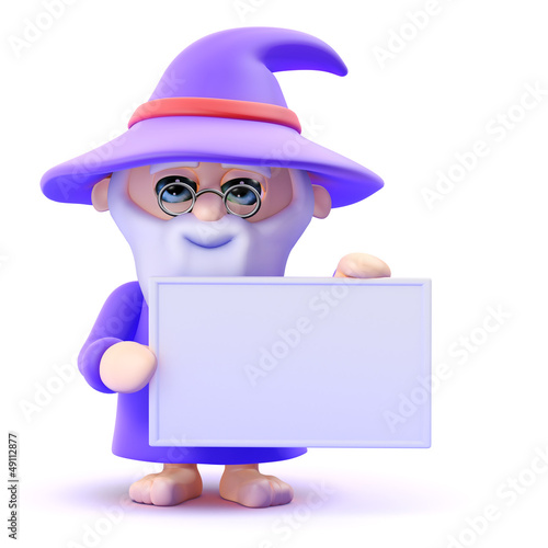Wizard holds a blank sign