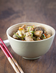 Wok with vegetables and chicken with soy sauce