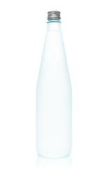 Isolated glass water bottle on white background