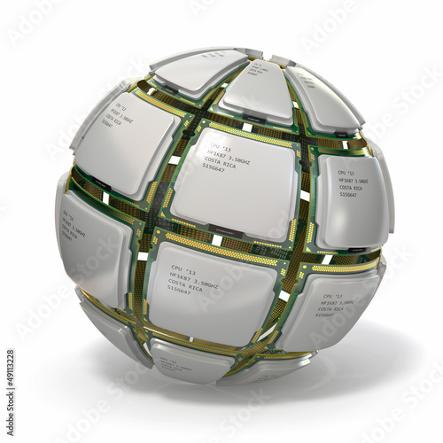 CPU. Sphere from computer's processors .3d