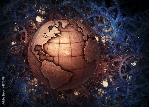 Metallic Earth globe