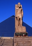 Pyramid and Ramesses statue, Memphis, USA. poster