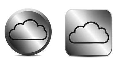 Metal button with cloud icon