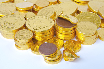 Stacks of Gold Chocolate Coins