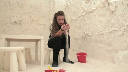 Girl in Salt cave therapy