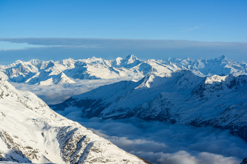 Panorama of swiss alps in wintes