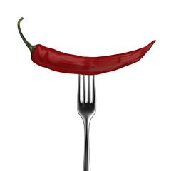 Chili pepper on fork