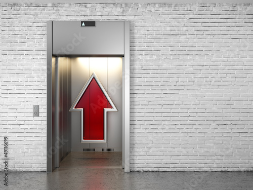 Elevator with opened doors and up arrow