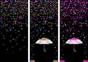3 bandes confettis - fête - noir - Carnaval