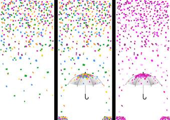 3 bandes confettis - fête - couleur - Carnaval