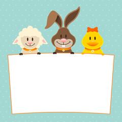 Card Lamb, Bunny & Duck Label Dots Retro