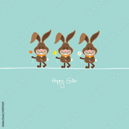 3 Bunnies Holding Spring Flowers Retro
