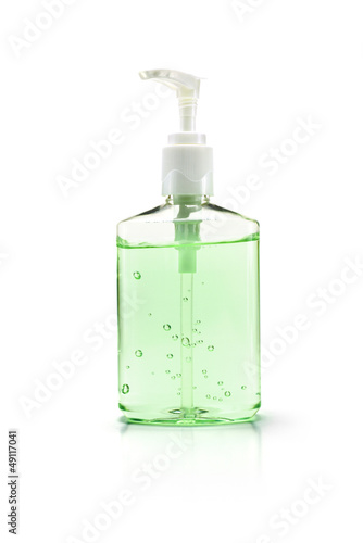 Hand sanitizer bottle on white with clipping path