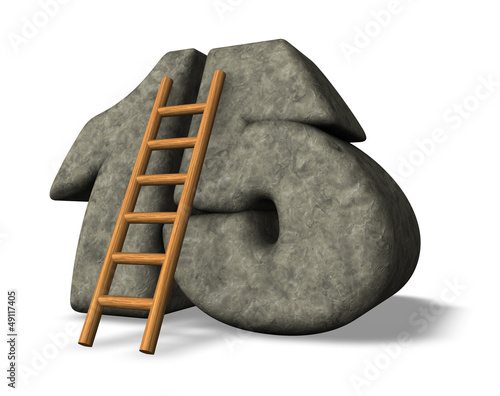 stone number and ladder