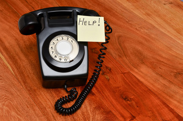 Black retro telephone customer service concept note