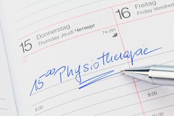 Eintrag im Kalender: Physiotherapie