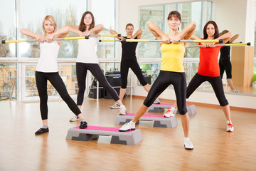 Group training in a fitness class