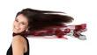 Elegante Lady mehr verwehten isolierten Haaren