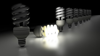 Compact fluorescent lamps in a row. One is enlightening.