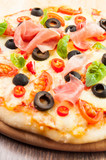 Pizza with ham, pepper and olives - 49121045