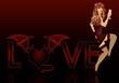 Devil love girl, vector illustration