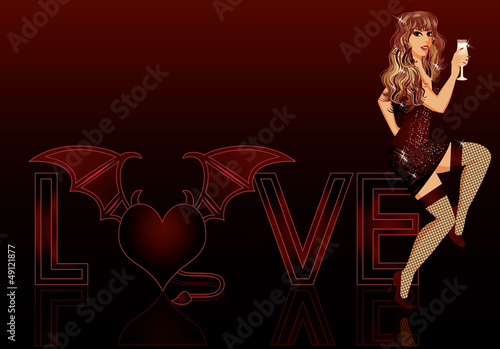Devil love girl, vector illustration