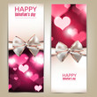 Beautiful greeting cards with white bows and copy space. Valenti