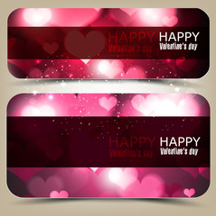 Elegant banners with hearts and place for text. Valentine's Day.