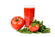 Full glass of fresh tomato juice and tomatoes with parsley